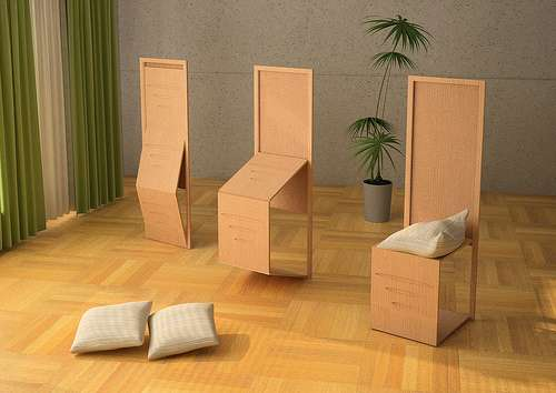 Camouflaged Folding Chairs Biombo Combination Furniture - Collapsible chairs
