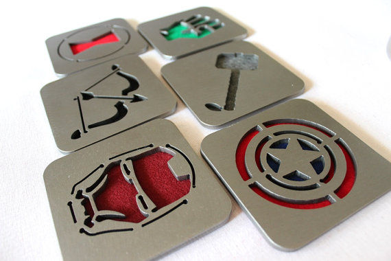 Steel Superhero Insignia Coasters