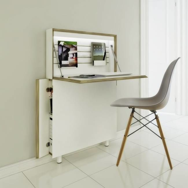 Super slim folding desks compact workstation - Folding desks for small spaces concept ...