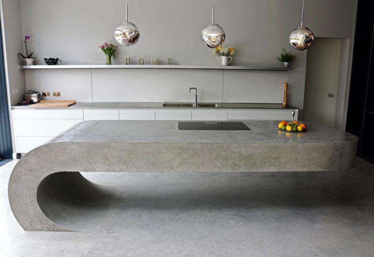 Cantilevered concrete kitchenettes concrete kitchen - Kitchen cabinet concrete table top ...