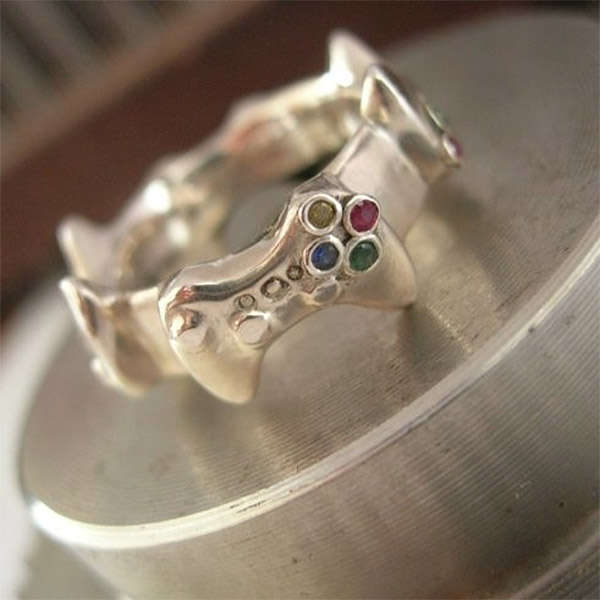 weddings nerd classy bands and romance rings inspired pin gamer wedding