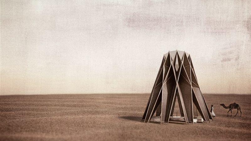 Oasis-Like Corten Steel Pavilions