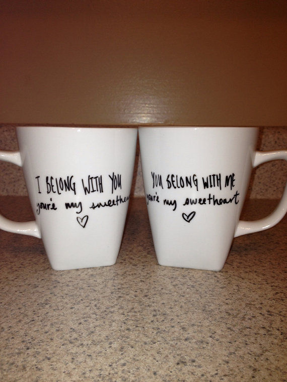 Adorable Lyrical Mugs Couple Coffee Mugs