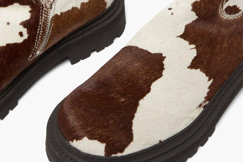 Cow-Print Textural Footwear