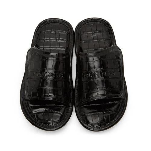 Crocodile Textural Luxe Slides