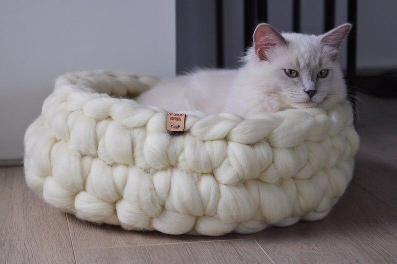 Crochet Merino Wool Cat Baskets