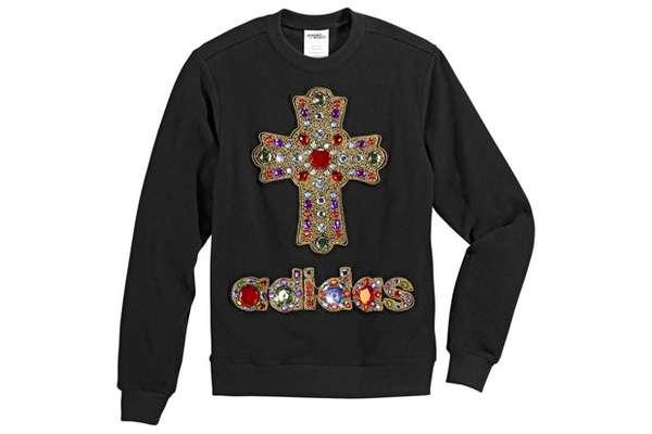 Bedazzled Crucifix Crewnecks