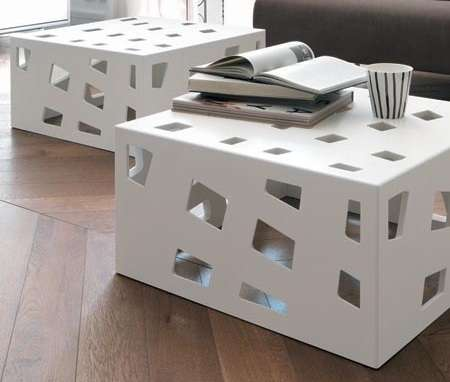 Internally Lit Cutout Consoles Cube Coffee Tables