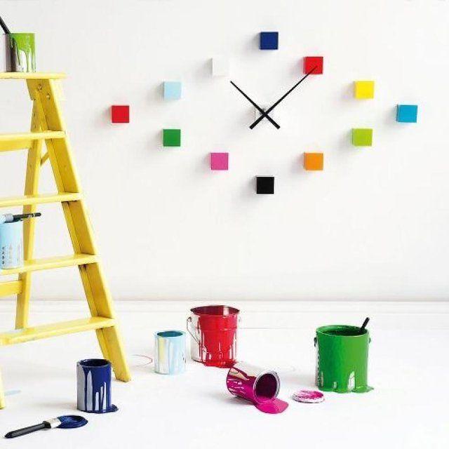 Chromatically Playful Clocks Cubic Wall Clock