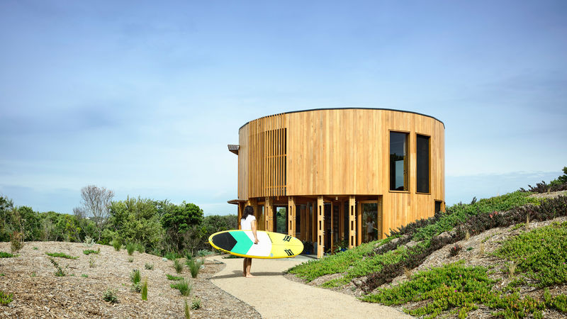 Beach-Ready Timber Cylindrical Houses