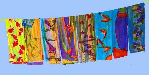 Handpainted Silk Scarves  Zwear Crepe De Chine Scarves by Deborah ... d00ce258ee1