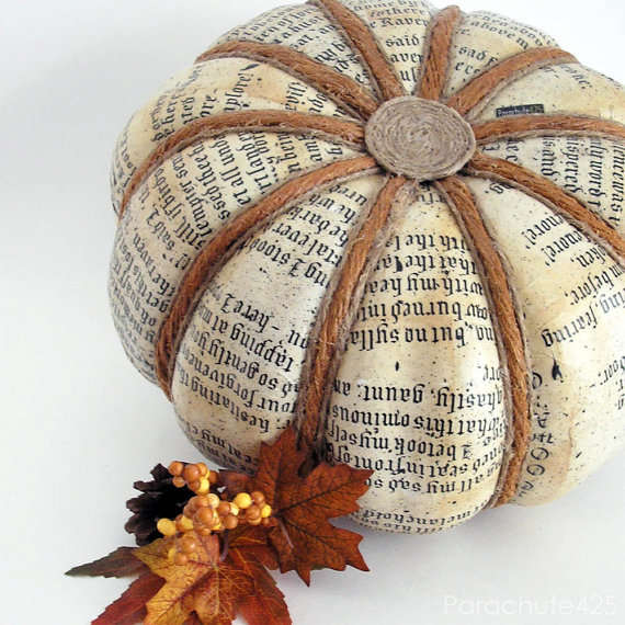 Newspaper Printed Pumpkins Decoupage Pumpkin