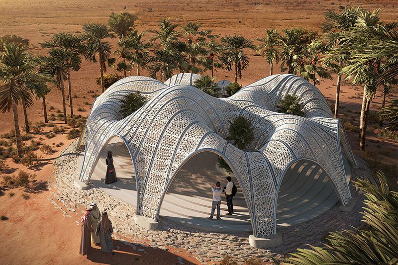 3D-Printed Desert Oasis Pavilions