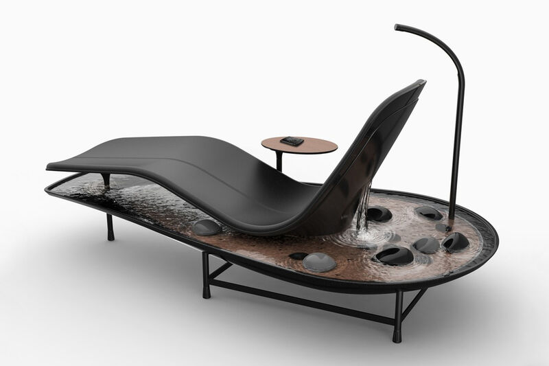 Waterfall-Equipped Lounge Chairs