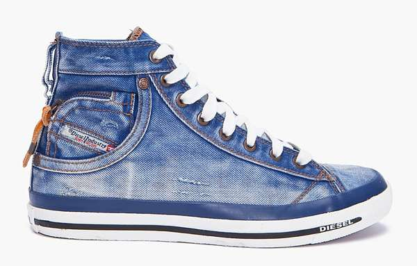 Jeans-Inspired High-Tops   Diesel Expoiak Denim Sneakers b23f24ef8b48