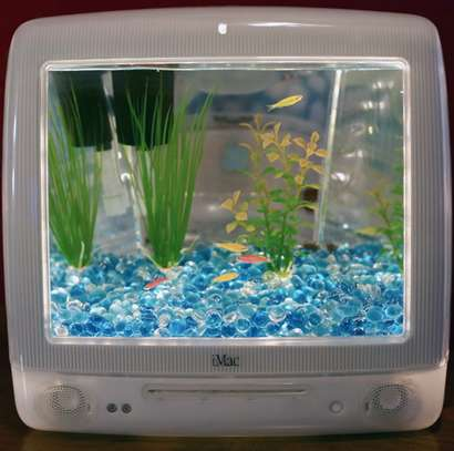 Upcycled computer aquariums diy aquarium for Fish tank screen