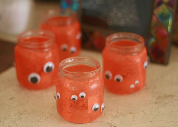Glowing Pumpkin Jar Lights