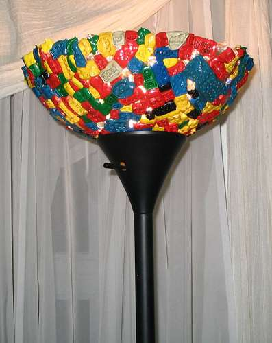 Diy lego lamps hideous lampshade made of melted melange of toy bricks diy lego lamps aloadofball Choice Image