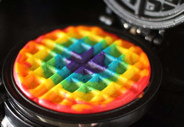 Multi-Colored Homemade Waffles