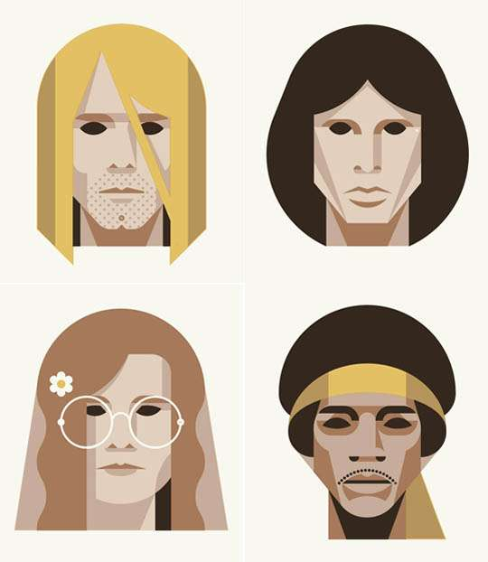 Minimalist Dead Rocker Drawings