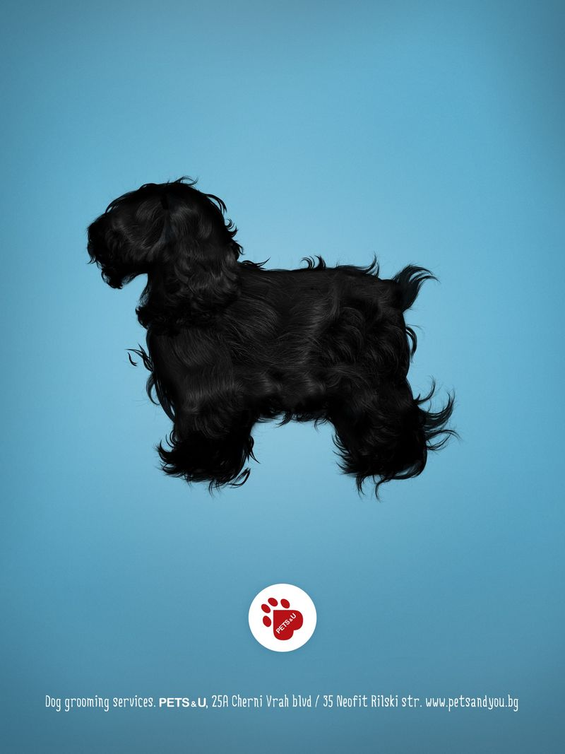 Hairy Dog Silhouette Ads : dog grooming services