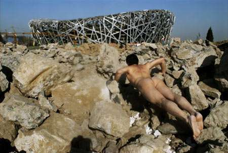Naked Pushups at Famous Landmarks