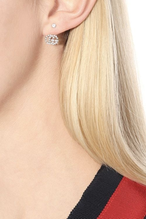 Diamond-Encrusted Logo Earrings