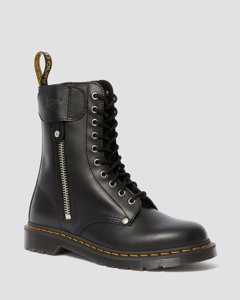 Sleek Co-Branded Combat Boots