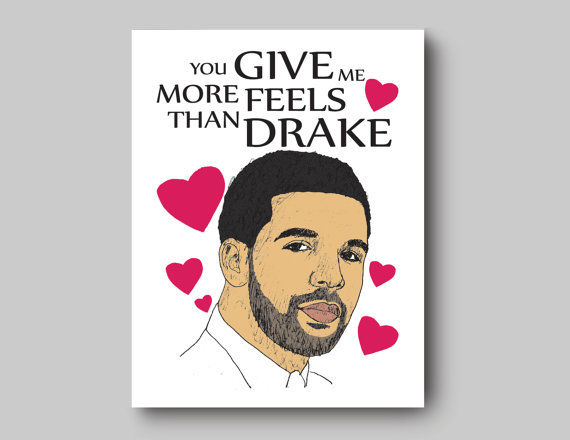 sentimental rapper romance cards drake card