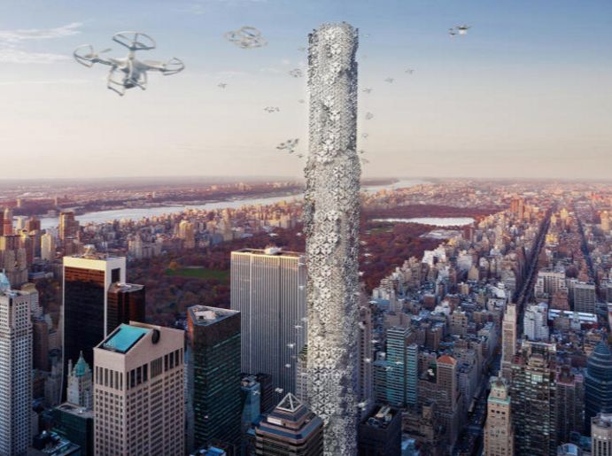 Delivery Drone Skyscrapers
