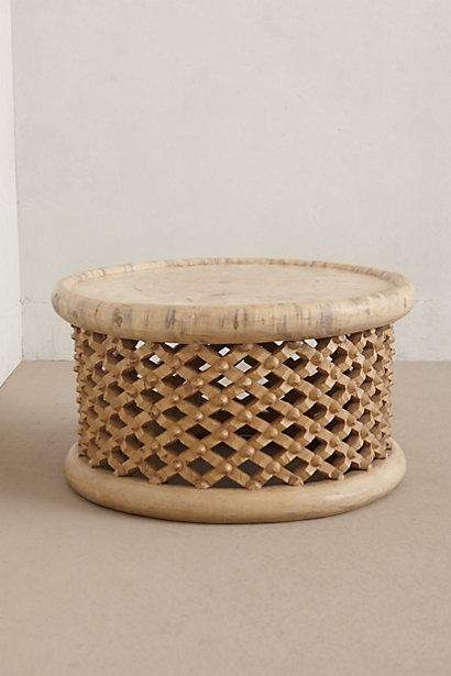 Cross Hatched Wood Furnishings Drum Coffee Table