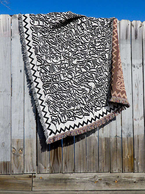 Calligraphy-Covered Blankets
