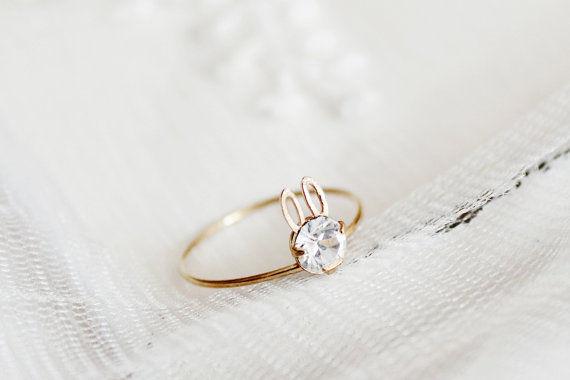 Glittering Rabbit Rings