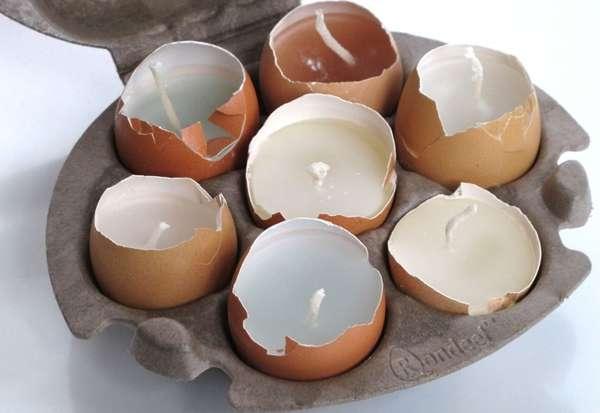 Salvaged Eggshell Votives