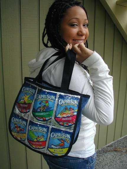 Recycled Drink Pouches as Handbags