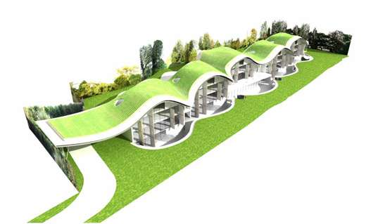 Sinuous eco friendly rooftops the park house for Eco green builders