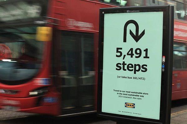 Directional Walk-Encouraging Ads