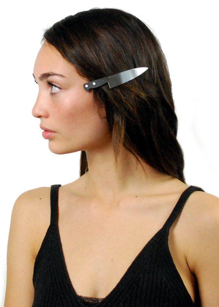 Knife-Inspired Hair Clips