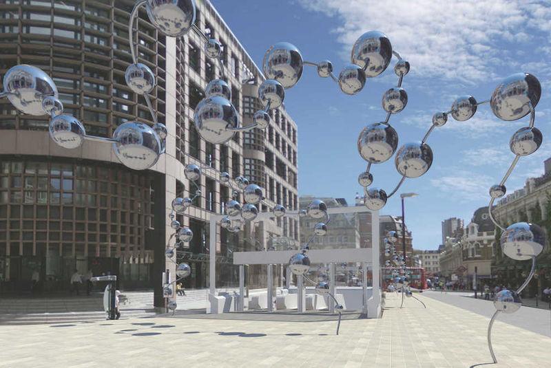 Mirrored Transit Line Sculptures