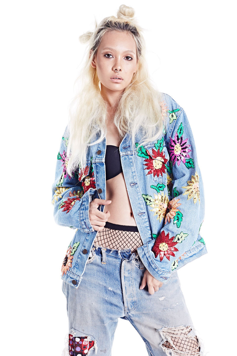 Floral Embroidered Denim Jacket-Plus