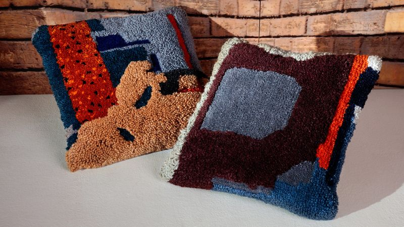 Abstractly Embroidered Pillows