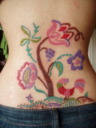Embroidery Tattoos Glitch Vixen Gets Her Grandmas Needlework