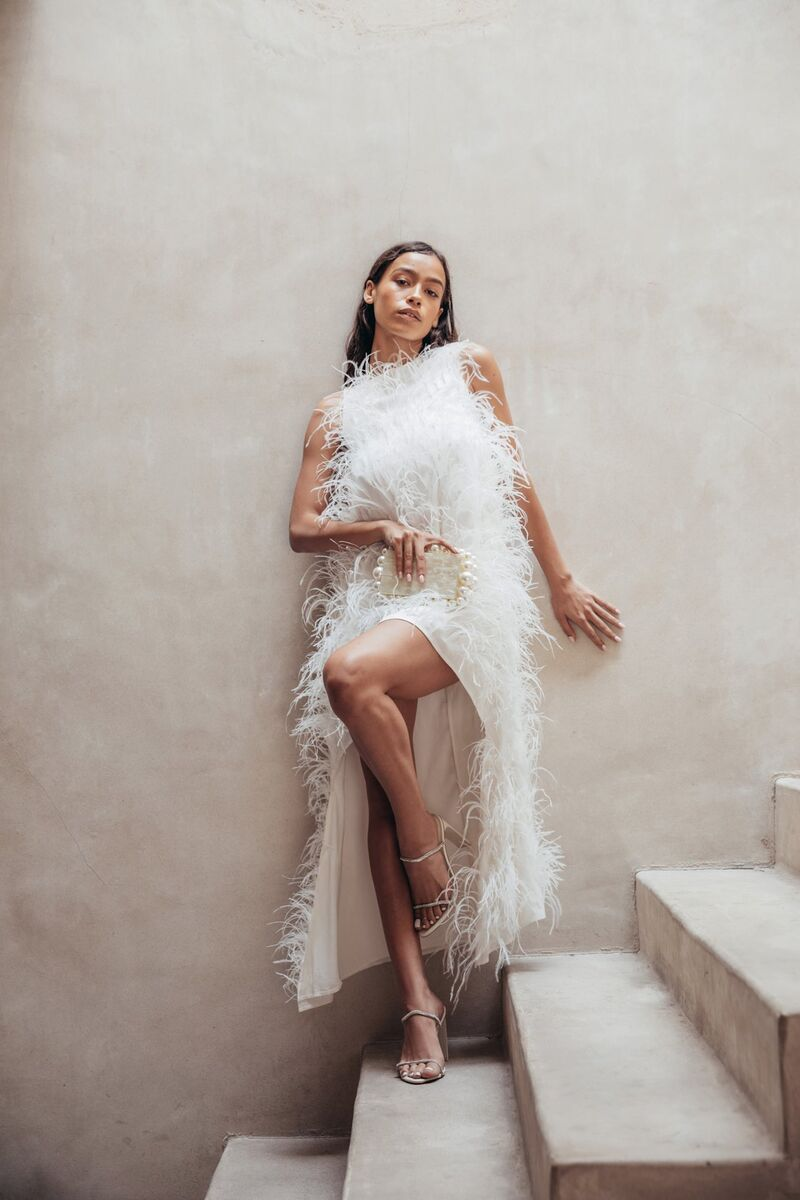 High-Low Feather Dresses
