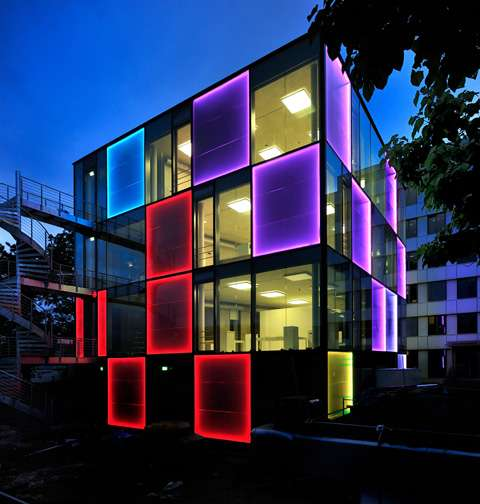 Disco like architecture energy cube for Building exterior lighting design