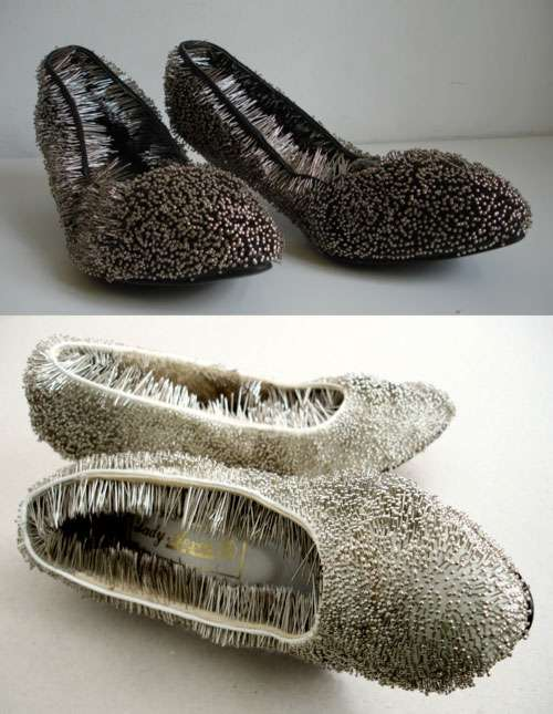 Frighteningly Needled Footwear
