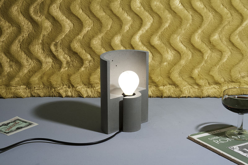 Crescent-Shaped Cement Lamps