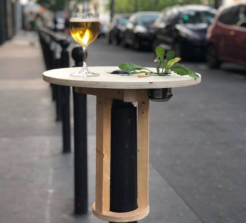 Roadside Poll-Mounted Tables