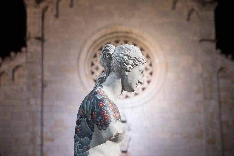 Tattooed Marbled Statue Displays
