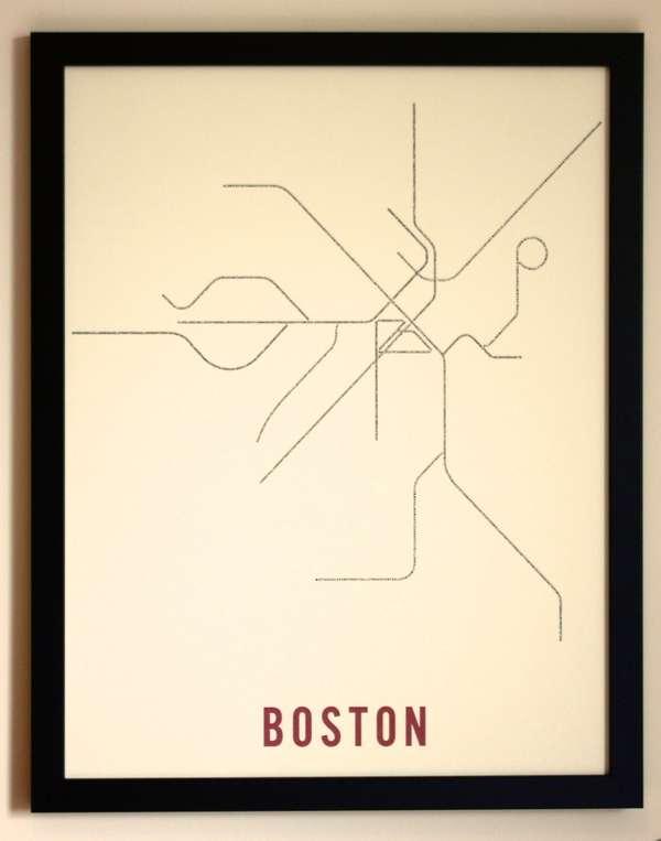 Minimalist Typographic Subway Maps