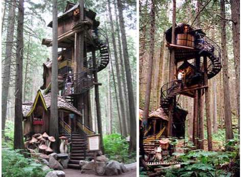 Fairytale tree houses the 39 enchanted forest 39 wooden tree for Best treehouse designs